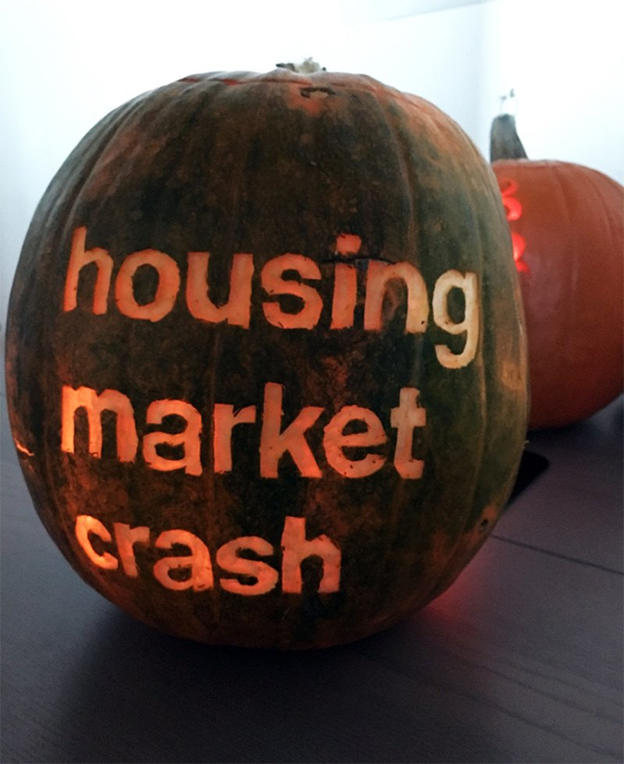 Pumpkin with Housing Market Crash Carving
