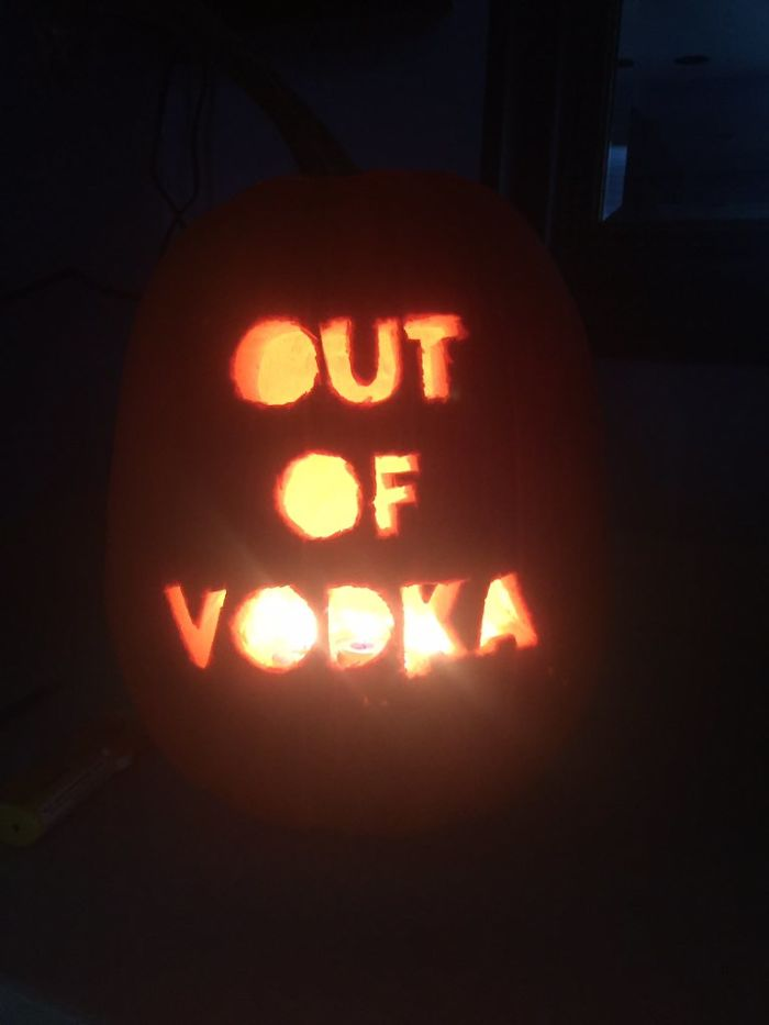 Pumpkin with Out of Vodka Carving