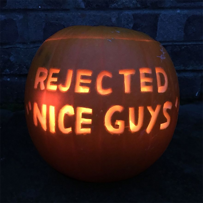 Pumpkin with Rejected Nice Guys Carving