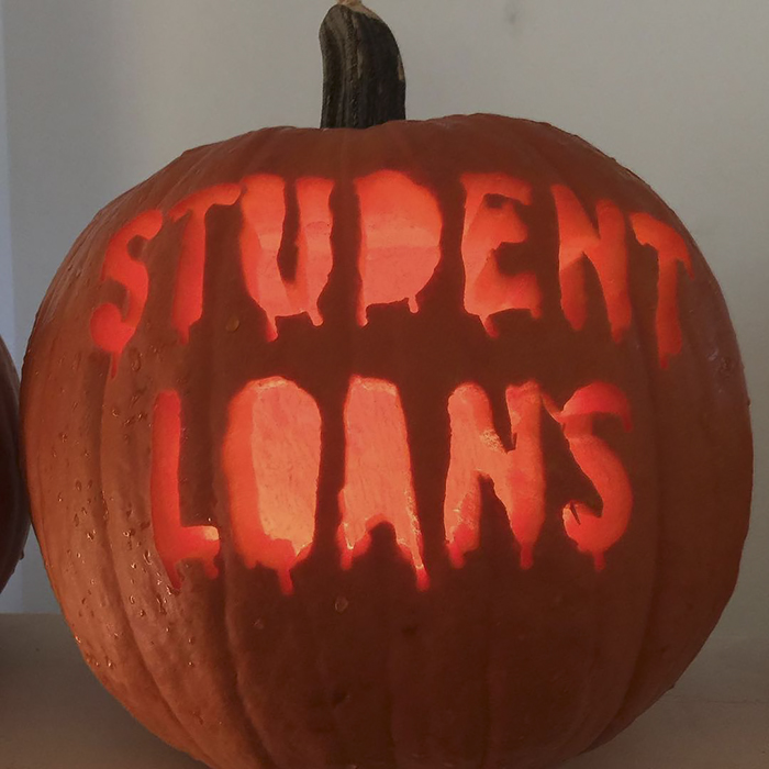 Pumpkin with Student Loans Carving