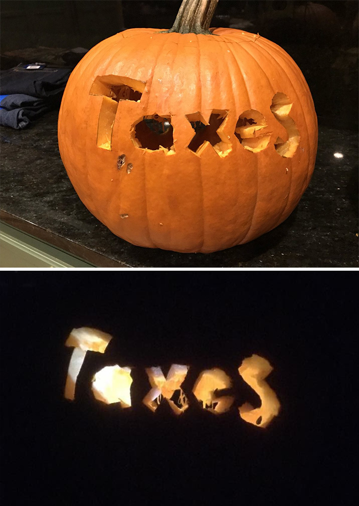 Pumpkin with Taxes Carving