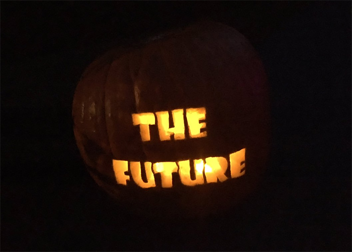 Pumpkin with The Future Carving