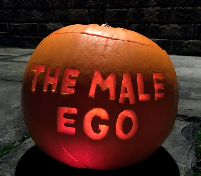Pumpkin with The Male Ego Carving