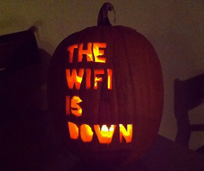 Pumpkin with The WiFi is Down Carving