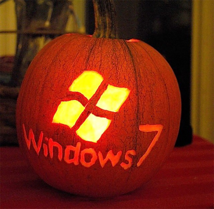 Pumpkin with Windows 7 Logo Carving