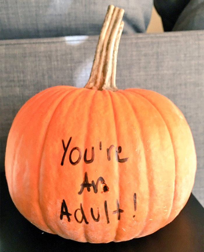 Pumpkin with You're An Adult Writing