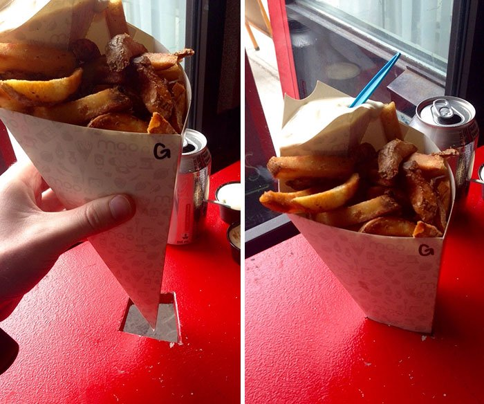 Red Table with a Hole to Hold Fries in Paper Cone