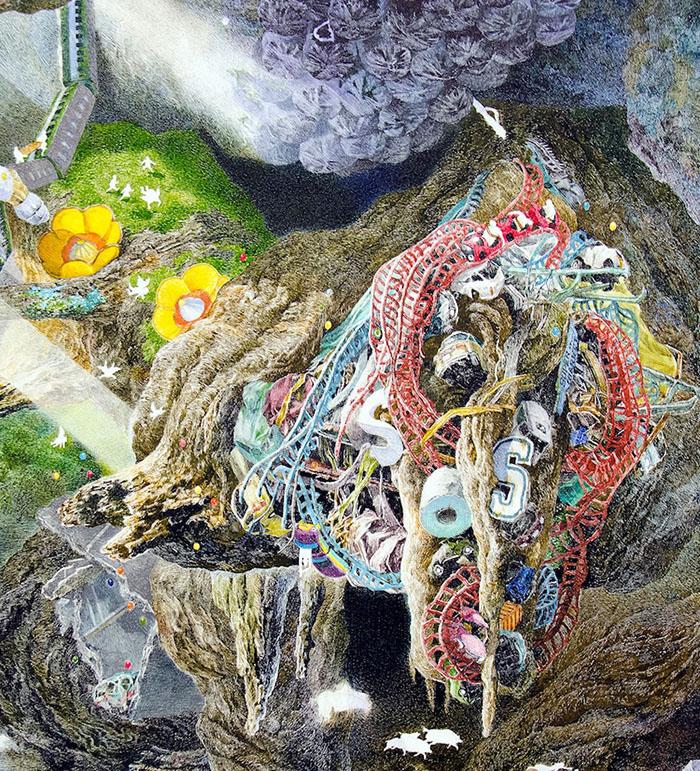 SOS Tsunami Debris Detail on Rebirth Painting by Manabu Ikeda