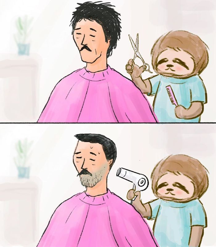 Sloth Cutting a Man's Hair