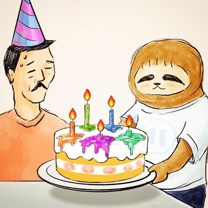 Sloth Holding a Cake and Wishing a Man Happy Birthday