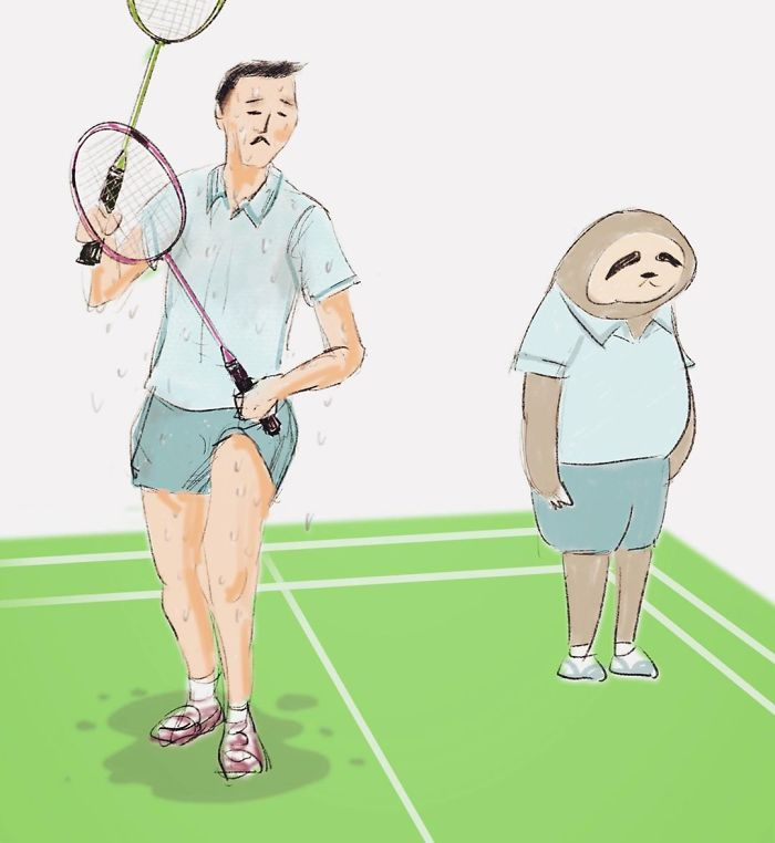 Sloth Playing Badminton with a Man