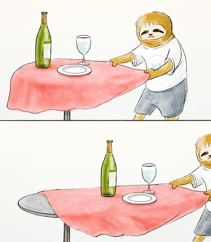 Sloth Pulling a Table Cloth from a Table with a Bottle of Wine, a Wine Glass, and a Plate