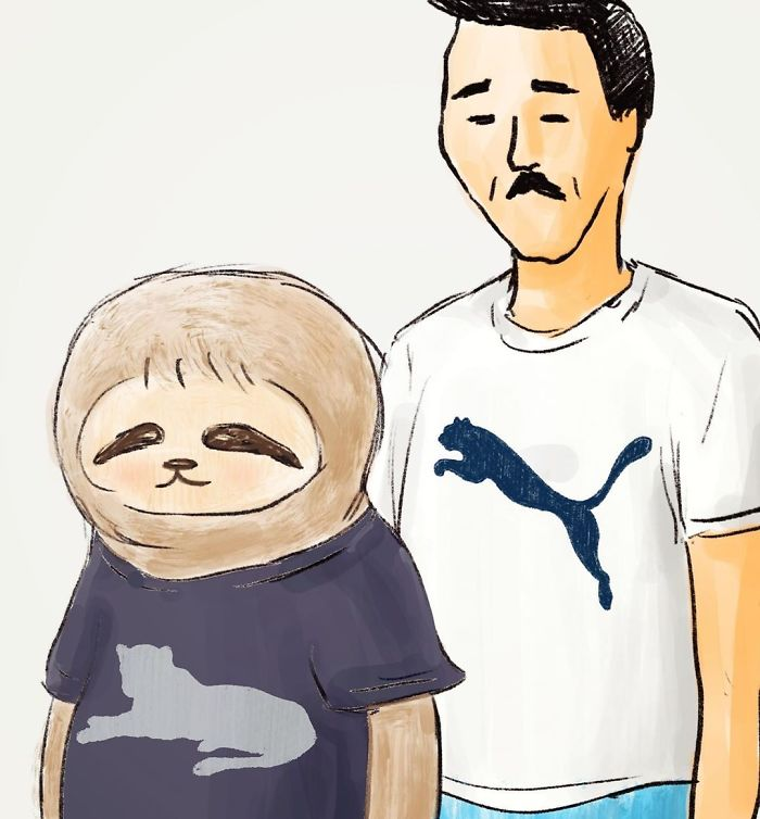 Sloth and Man Wearing Puma Shirts
