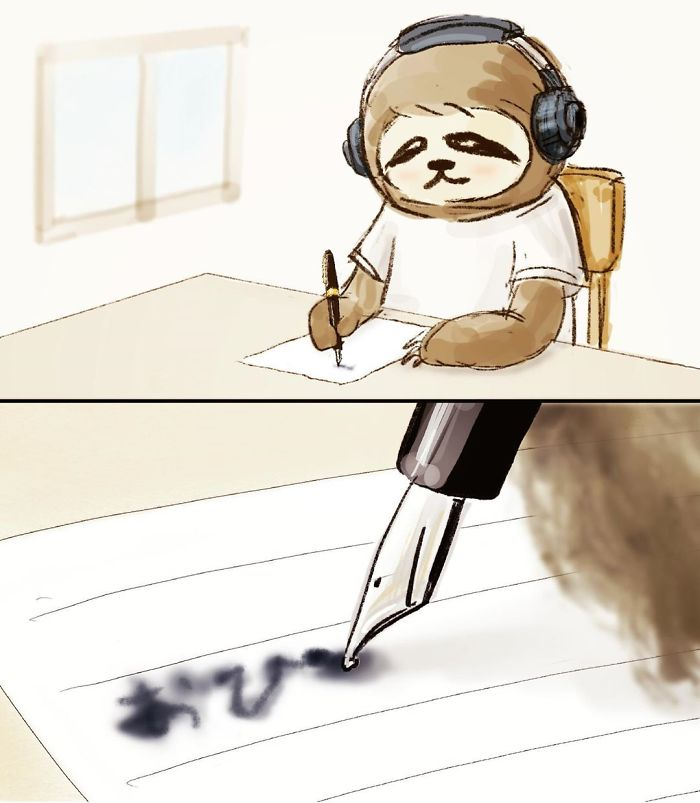 Sloth with Headphones on While Writing on a Paper