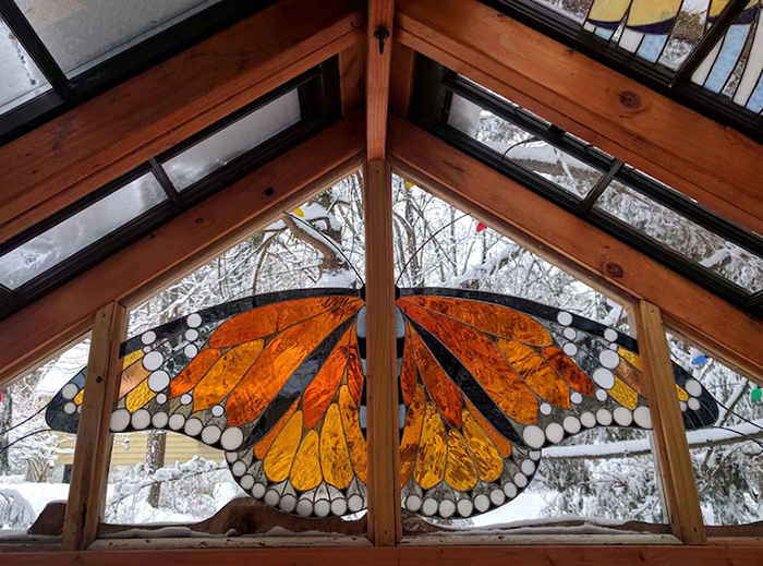Stained Glass Cabin Butterfly Detail