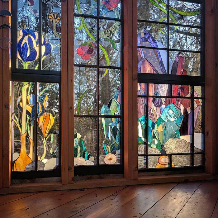 Stained Glass Cabin Flower and Gemstone Details