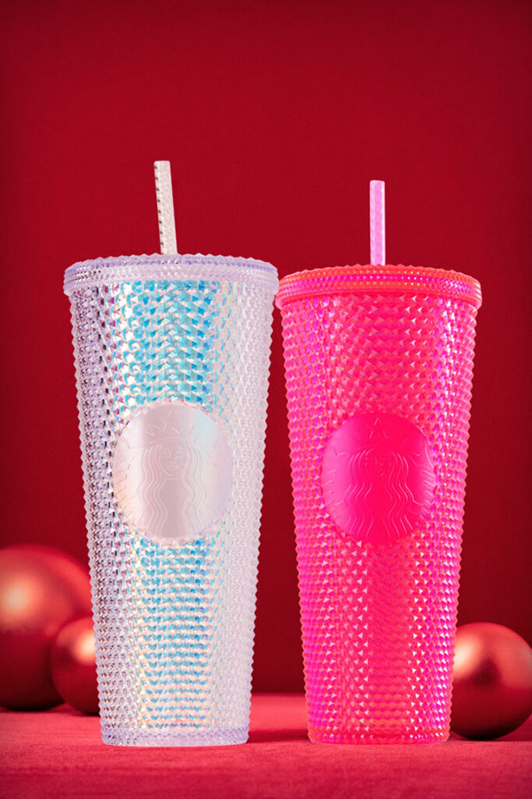 Starbucks Iridescent Cold Cups in Bling Platinum and Neon Pink