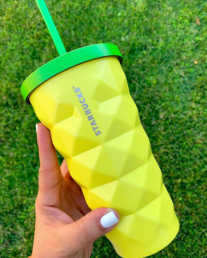 Starbucks' Pineapple Tumbler with Grass Backdrop