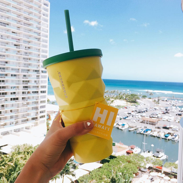 Starbucks' Pineapple Tumbler with Hotel View Background