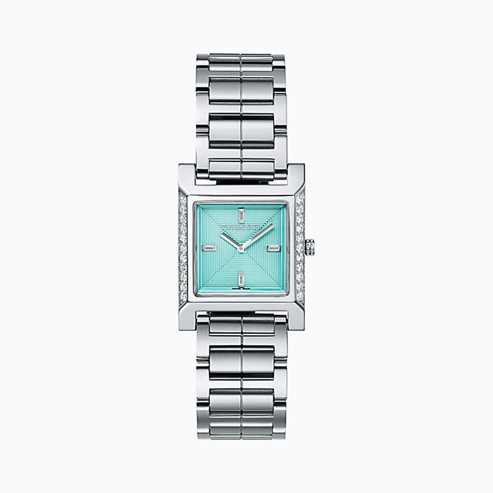 Tiffany 1837 Makers 22 mm Square Watch in Stainless Steel with Diamonds