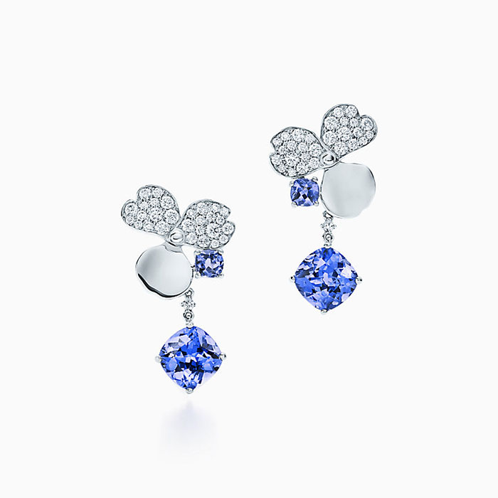 Tiffany Paper Flowers Diamond and Tanzanite Flower Drop Earrings in Platinum