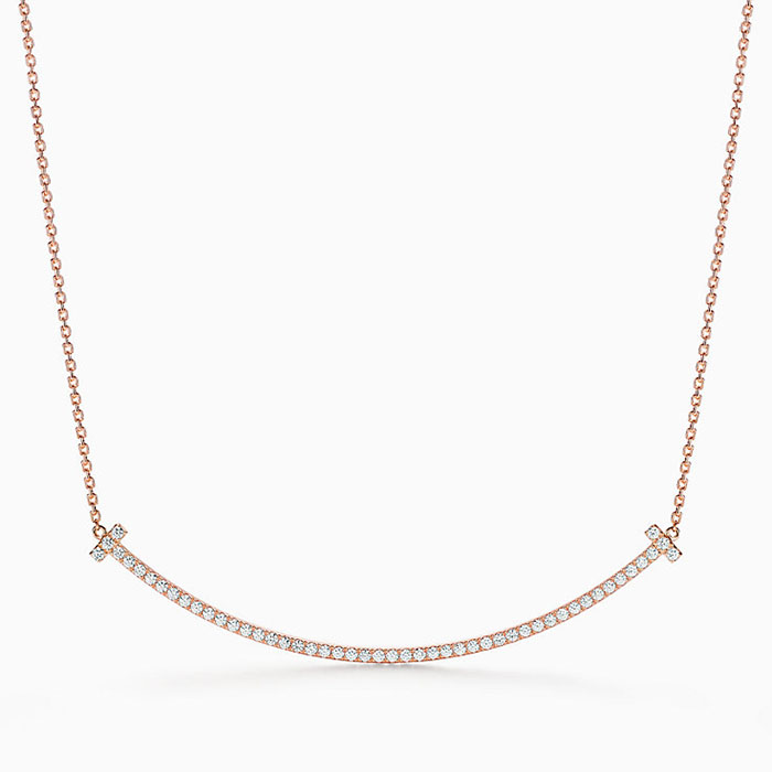 Tiffany T Extra Large Smile Pendant in 18k Rose Gold with Diamonds