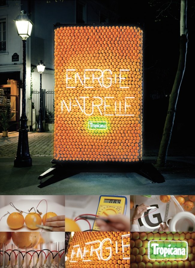 Tropicana Billboard Powered by Oranges