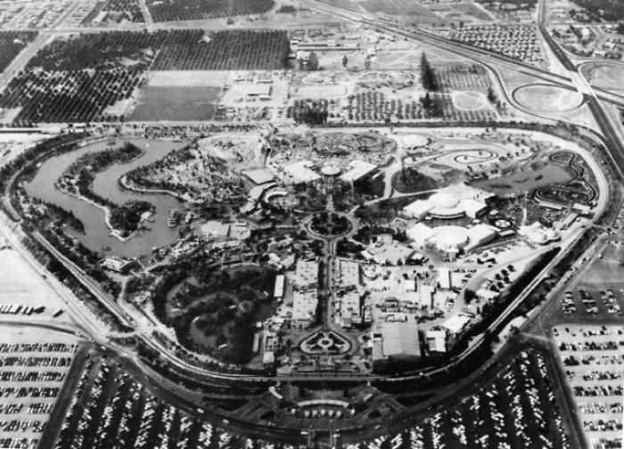 aerial shot of Disneyland upon opening