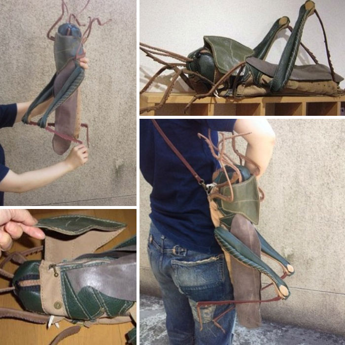 amaheso creature-inspired handbags grasshopper