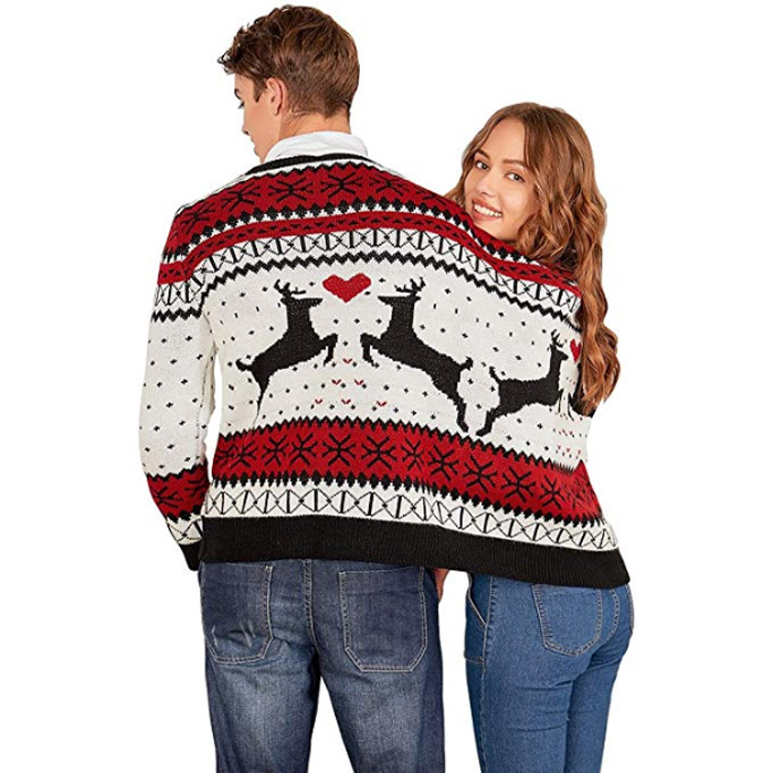 amazon two person ugly christmas sweater colormix back