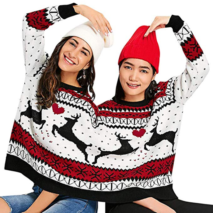 amazon two person ugly christmas sweater colormix front