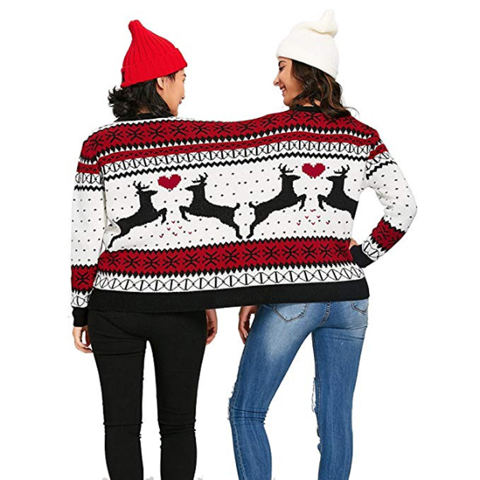 amazon two person ugly christmas sweater colormix reindeer back