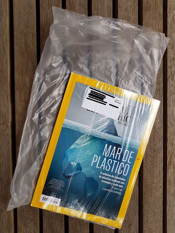 an excessively plastic wrapped copy of natgeo ironic moments