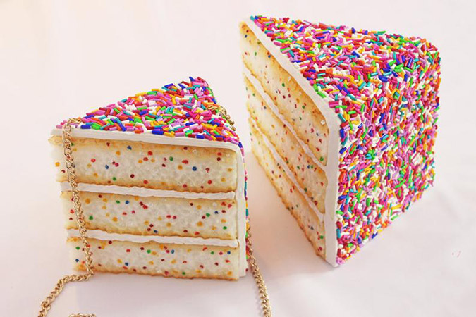big and small sprinkle cake clutch