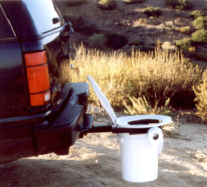 bumper dumper hitch mountable portable toilet frame