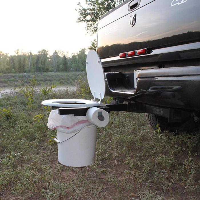 bumper dumper hitch mountable portable toilet