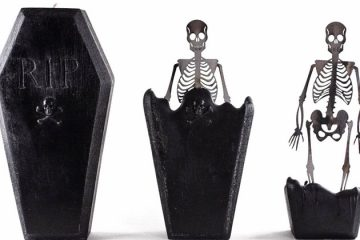 coffin candle skeleton