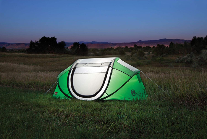 coleman 2-person pop-up tent setup
