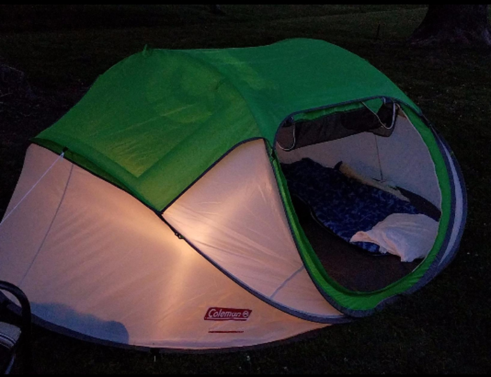 coleman 4-person pop-up tent night