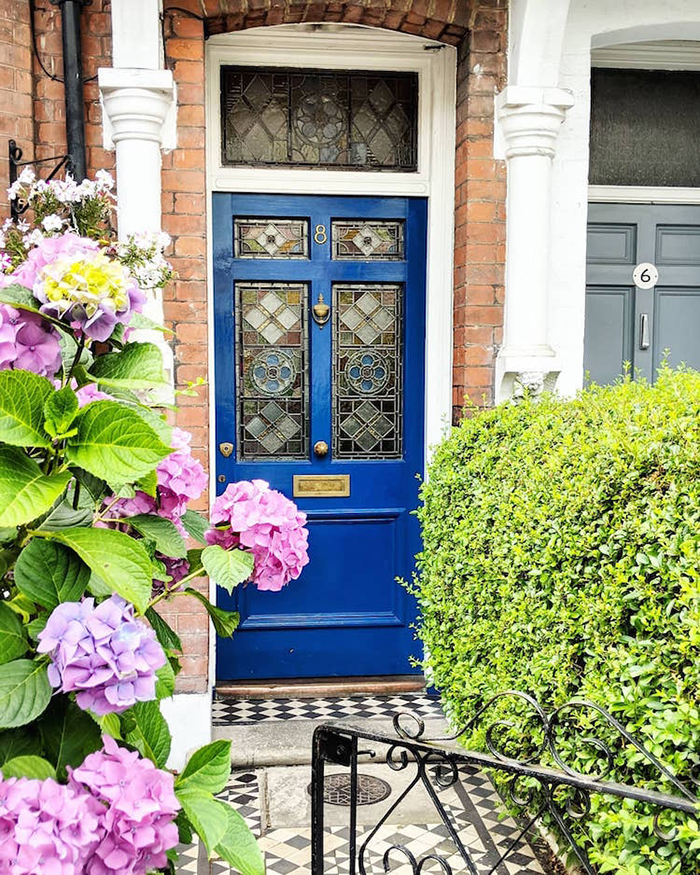 colorful front doors blue door with stained glass