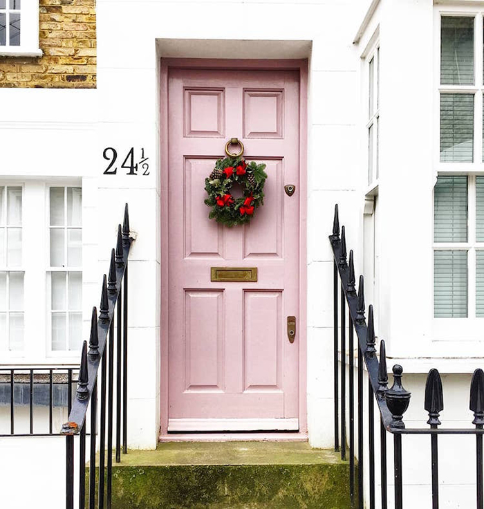 colorful front doors blush pink