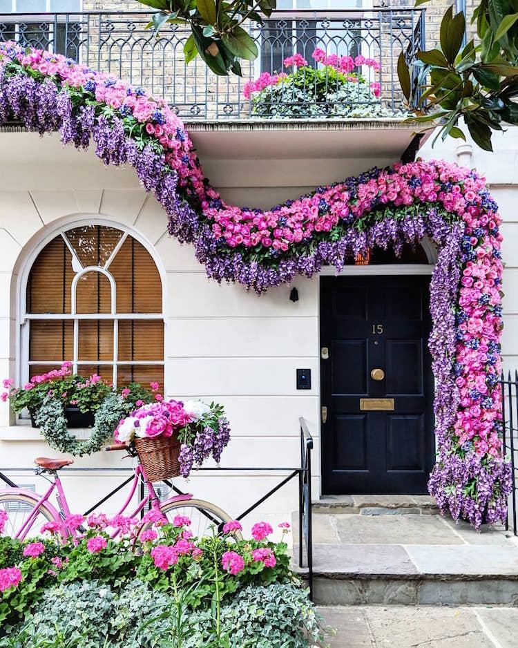 colorful front doors floral arch navy door