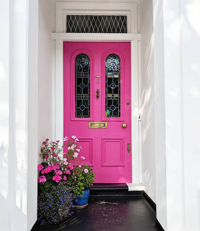 colorful front doors hot pink