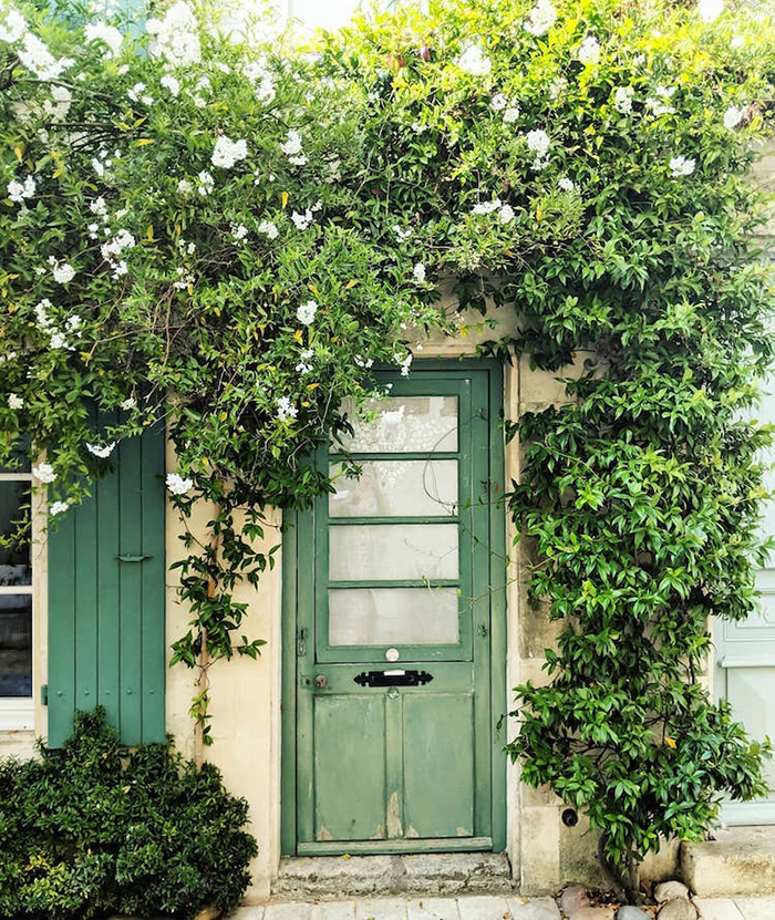 colorful front doors light green