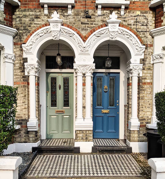 colorful front doors moss green and powder blue