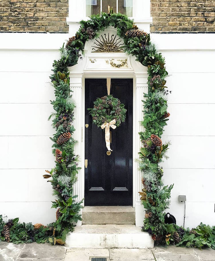 colorful front doors navy door christmas theme