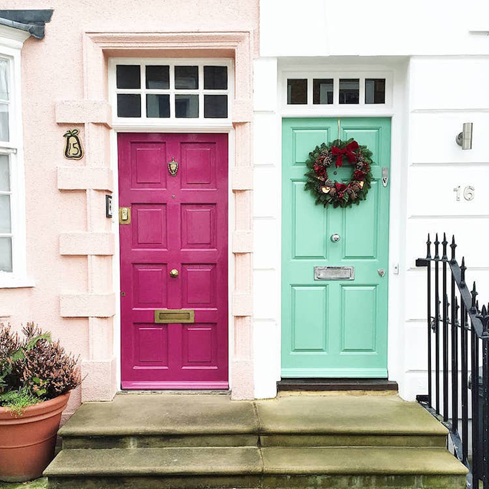 colorful front doors pink and mint