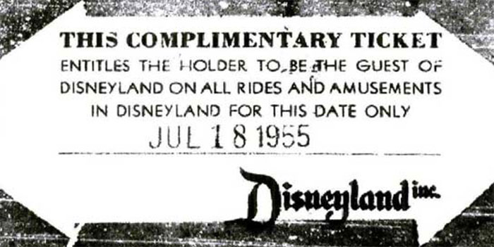 disneyland's first ever customer complimentary ticket