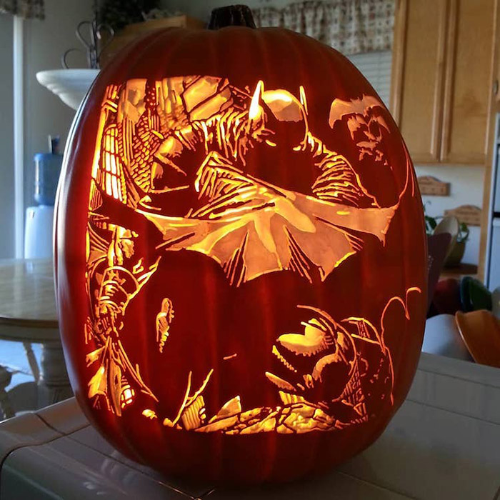 cool pumpkin carving batman
