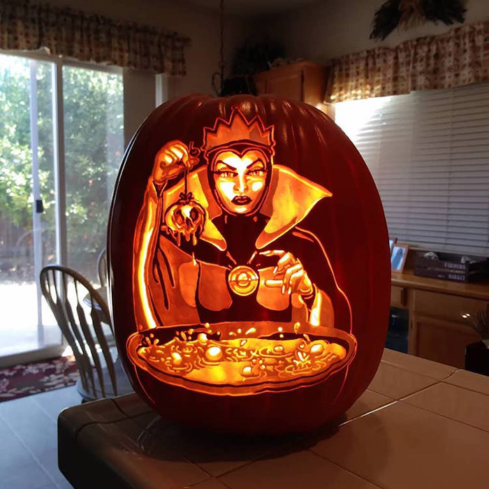 cool pumpkin carving evil queen makes poison apple